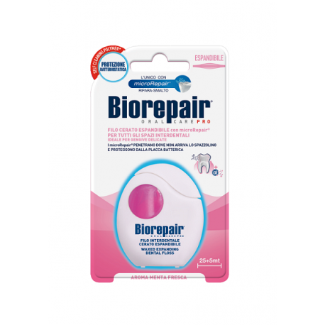 BioRepair Floss Expand 50m - nić nylonowa, niewoskowana, remineralizująca (różowa)